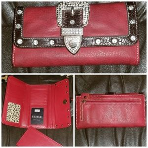 Red Wallet w/Check Book Leather